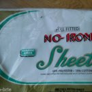 Vintage Permanent Press No Iron Full Fitted Sheet S S Kresge White Made USA NEW