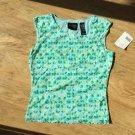 Liz claiborne axcess Tank Top shirt size S Sheer Lined Green Geo Print Cute New