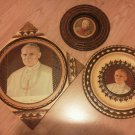 Set of 3 Pope John Paul II Wood Carved Picture Frame Poland Numbered Vintage