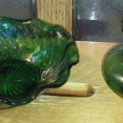 Set of 2 Green Glass Bowl Vase Ruffled Top Swirl Dish Anchor Hocking Lot Vintage