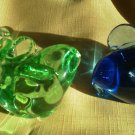 Set of 2 Glass Elephant  blue Green Trunk Up Bright Paperweight figurine Awesome