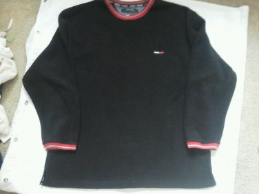 Men Tommy Jeans Hilfiger pullover shirt thick soft Fleese size L Black Red EUC