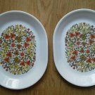 Set 2 Corelle Large Oval Platter Indian Summer 12 in Corning Serving Flowers EUC