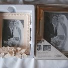 Set of 2 Fetco Silver PICTURE BOOK 64 ct 3D flower leaves Ceramic Frame NEW Lot