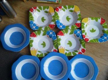 Set of 9 Melmac Bowl Dinner Soup Trudeau Leaves Flowers  Fruit Blue Lot Square