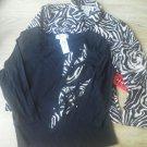 Ladies R & K Petite M LS Shirt Jacket 2 pc Zebra Print Supersoft size PM Blk NEW