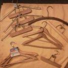 Set of 11 Wood Hangers Suit Coat Jacket Pants Lot Vintage Heavy Duty Clip Thick