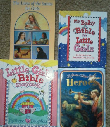 Set of 4 Religious Books Little Girls Bible Storybook Lives of Saint Heroes Baby
