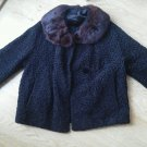 Ladies Fur Collar Car Coat Vintage Brocade Pattern Black Detachable Lined EUC