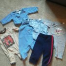 Lot of 6 Boys Warm Winter Outfits Pants Shirt Onsie Size 0-3 M Cold Newborn EUC