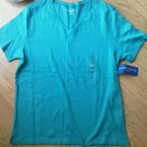Ladies Karen Scott Sport Shirt Top Blue Green Cotton Size M Scoop Neck NEW