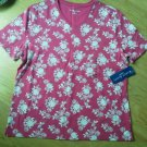 Ladies Karen Scott Sport Shirt Top Red Wh Flower Cotton Size M Scoop Neck NEW