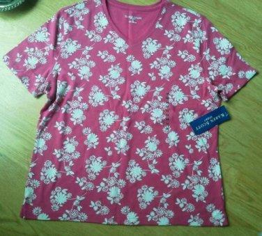 Ladies Karen Scott Sport Shirt Top Red Wh Flower Cotton Size M Scoop Neck NEW