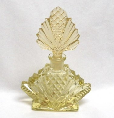 Czech Yellow Crystal Perfume Bottle with Original Stickers