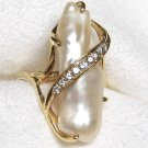 Vintage Lady's 14k Pearl and Diamond Ring