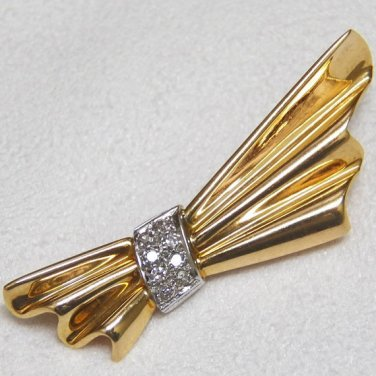 Vintage 14kt Yellow and White Gold Brooch / Pin with Diamonds
