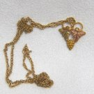 Vintage Landstoms Black Hills Gold Grape Pendant on 14kt Solid Gold Chain