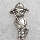 "Vintage C.M.C Silver Plate Kewpie Pin ""The Farmer"""