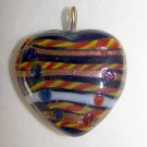 1930's Lampwork Glass Heart Pendant