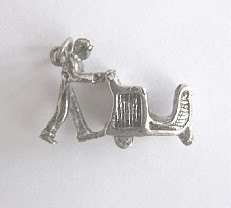Vintage Sterling Silver Charm of a Man Pushing a Cart
