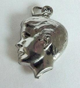 Vintage Puffy Sterling Silver Silhouette Charm of a Boy