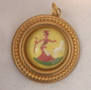 Reverse Painted on Glass Little Bo Peep Charm