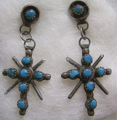 Vintage Zuni Sterling Silver &Turquoise Dangle Earrings