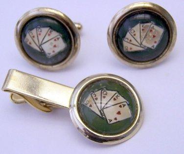 Vintage Reverse Painted Poker Cuff Links & Tie Bar