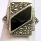 Vintage Sterling Silver and Onyx Ring With Marcasites