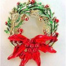 Vintage Christmas Holiday Wreath Pin