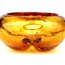 Vintage English Whitefriars 9778 Amber FLC Five Lobed Controlled Bubble Dish/Bowl