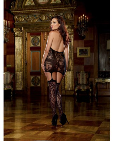 Queen Size Dreamgirl Lace Fishnet Halter Garter Dress Stockings 165lbs-275lbs