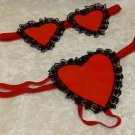 Vinyl G String Heart and Heart Blind Fold 2 PC set one size fits most 90-165lbs
