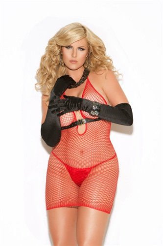Queen Size Sexy Diamond Net Red Mini Dress Chemise Fit165-265lbs Elegant Moments