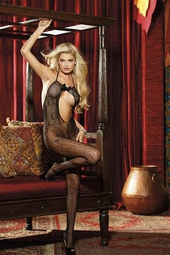 Sexy Crotchless Bodystocking Black Lace Open Front Fish Net One Sz 90-175lbs