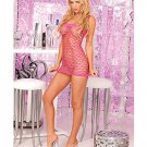 Pink Sexy Seamless Net Tube Dress Fits Size 4-12 90-165lbs Pink Lipstick