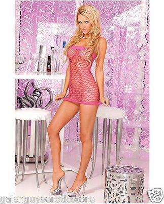 Pink Sexy Seamless Net Tube Dress Fits Size 4-12 90-165lbs Pink Lipstick