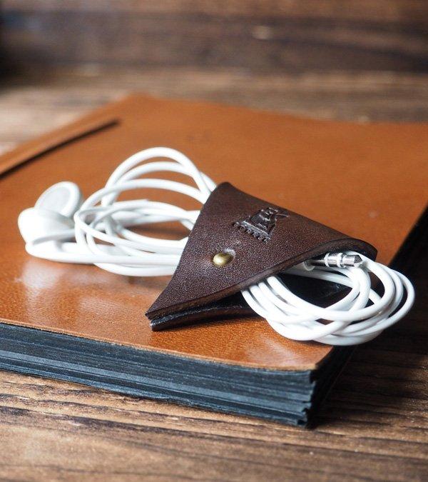 Leather Cord Holder-handmade,Earbud Cable Organizer,Earphone,Minimalist#Dark Brown