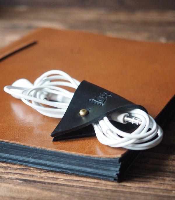 Leather Cord Holder-handmade,Earbud Cable Organizer,Earphone,Headphone,Minimalist#Black