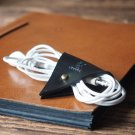 Leather Cord Holder-handmade,Earbud Cable Organizer,Earphone,Headphone,Minimalist#Black