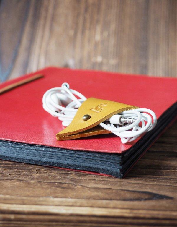 Leather Cord Holder-handmade,Earbud Cable Organizer,Earphone,Headphone,Minimalist#Yellow