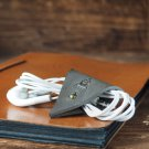 Leather Cord Holder-handmade,Earbud Cable Organizer,Earphone,Headphone,Minimalist#Gray