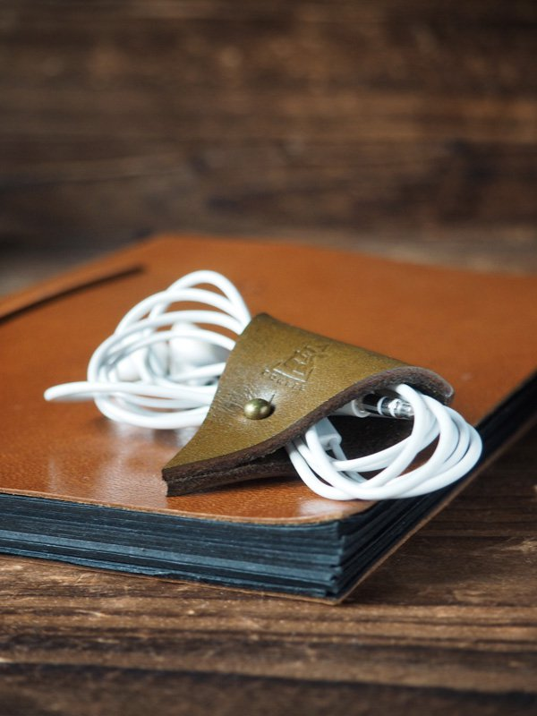 Leather Cord Holder-Earbud Cable Organizer,Earphone,Headphone,Minimalist#Olive Green