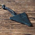 Leather Triangle Keychain - key fob handmade, keyring, personalized #Black