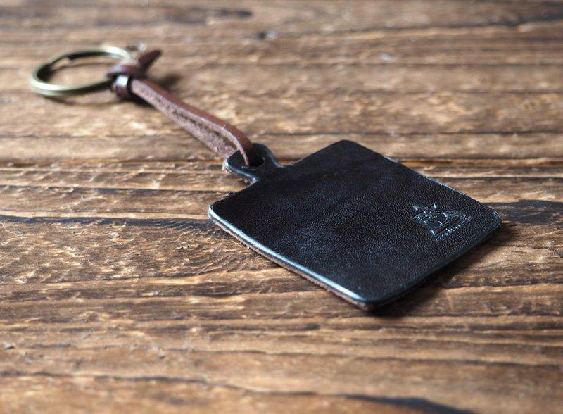 Leather Square Keychain - key fob handmade, keyring, personalized #Black