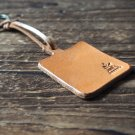 Leather Square Keychain - key fob handmade, keyring, personalized #Light Brown