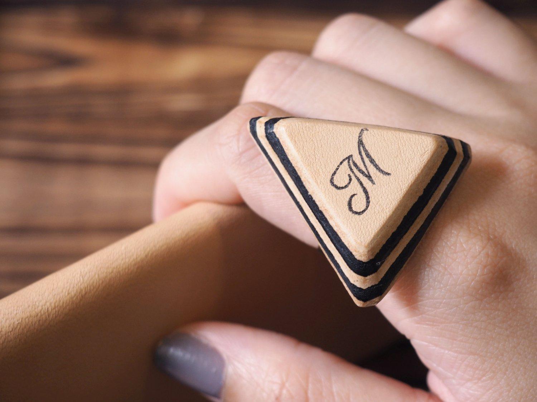 Initial Leather Ring - Name, Handmade Triangle, Custom initial, monogram #Black