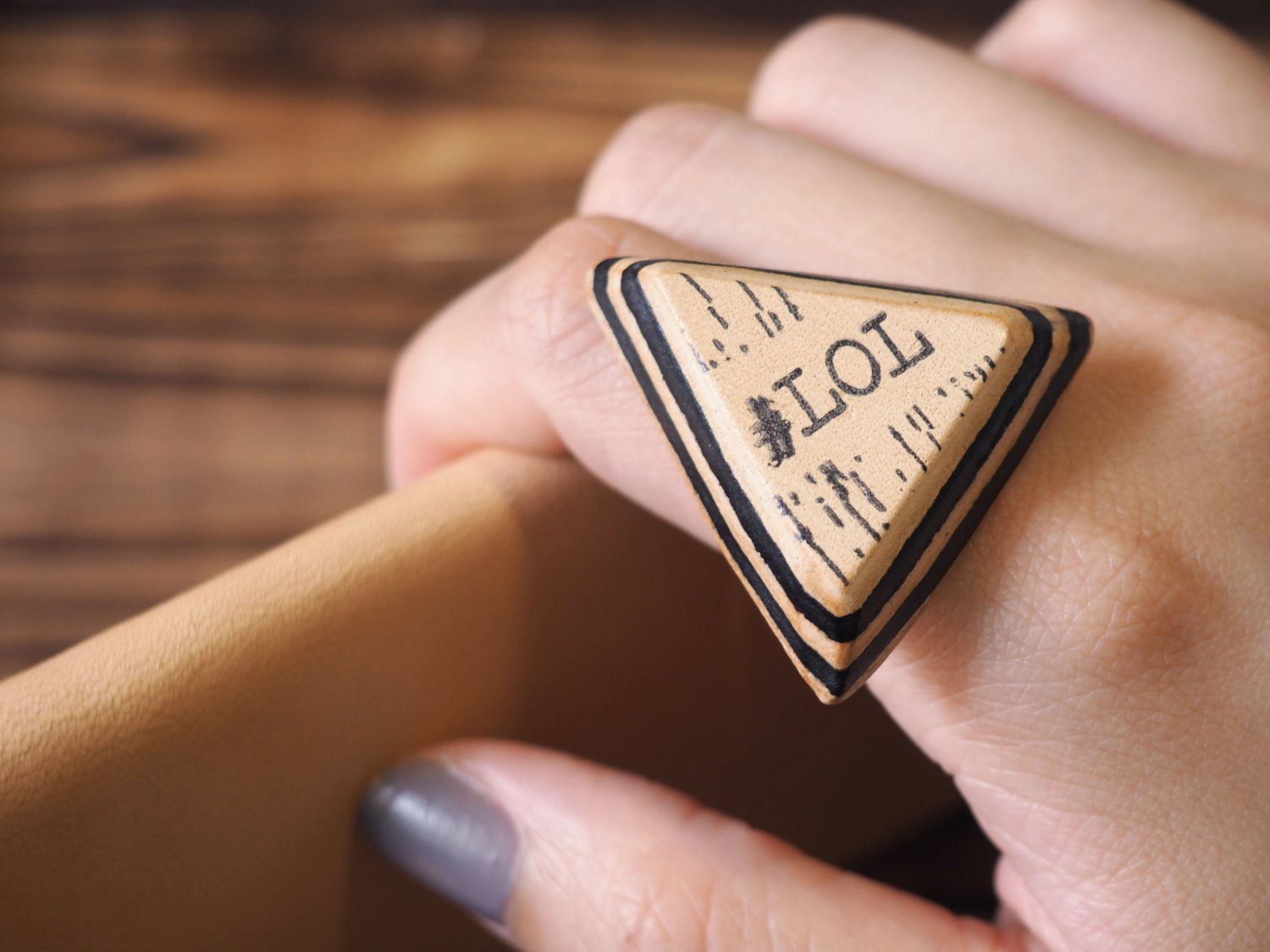 LOL Leather Ring - Laugh Out Loud Letters, Triangle, Text talk, Custom initial#Black