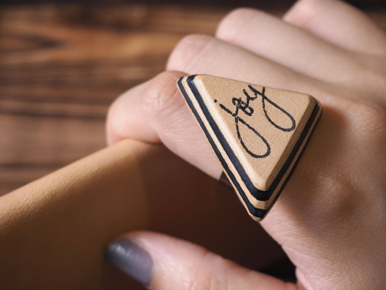 Joy Leather Ring - Adjustable, Handmade Triangle #Black