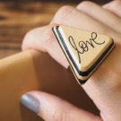 Handmade Leather Love Adjustable Rings Triangle Funny gifts Personalized gifts for her #Black